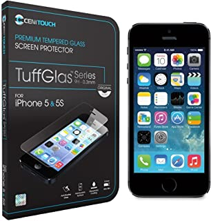 Cenitouch® - Protector de pantalla de cristal templado original de primera calidad para iPhone 5S / 5C / 5 [TuffGlas® Technology] (0,3 mm) - Vidrio cristalino de dureza 9H con bordes redondeados - Incluye kit completo e instrucciones