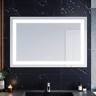 ELEGANT Rectangular Bathroom Vanity Mirror LED Makeup Mirrors, Illuminated Touch Switch Anti-Fog Decorative Mirror, 1200x8...