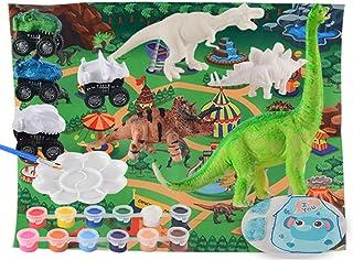 yeesport Kids Dinosaur Art Kit Interactive DIY Painting Dinosaur Toy Painting Brush Dinosaur Figure Toy Diy Painting Toy P...