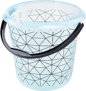 keeeper Seau avec Échelle de Mesure Intégrée et Poignée Ergonomique, 10 l, Ilvie Polygon, Bleu Glacier Transparent, Polypr...