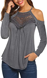 Women's Casual Long Sleeve/Short Sleeve Flowy Lace Cold Shoulder Tops Blouses Basic Tee Shirts