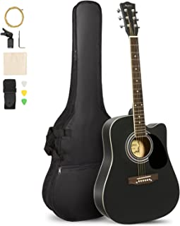 ARTALL 41 Inch Handcrafted Acoustic Cutaway Guitar Beginner Kit with Gig bag & Accessories, Matte Black