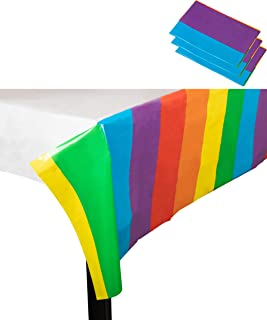 Rainbow Plastic Tablecloth - 3-Pack 54 x 108 Inch Disposable Table Cover, Fits up to 8-Foot Long Tables, Birthday, Rainbow Themed Party Decoration Supplies, 4.5 x 9 Feet