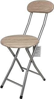 LABOLATA Taburete Plegable Metal Y Madera 30 x 73 cm | Silla Plegable Cocina Jardin Salon