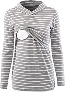 BBHoping Women's Nursing Hoodie Sweatshirt Long Sleeves Maternity Tops Casual Breastfeeding Clothes