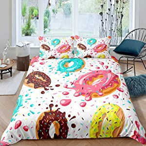 Girls Donuts Comforter Cover Colorful Tie Dye Duvet Cover Set for Kids Child Bedroom Gift Girly Cute Sweet Dessert Food Bedding Set Multicolor Decor Bedspread Cover No Comforter 3 Pcs Queen Size