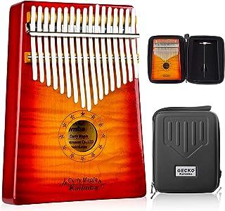 GECKO Kalimba 17 Keys Thumb Piano with Hardshell Case Study Instruction Tuning Hammer Portable Wood Finger Piano Birthday ...