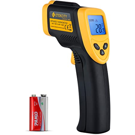 Etekcity Infrared Thermometer 1080 (Not for Human) Temperature Gun Non-Contact Digital Lasergrip -58℉~1022℉ (-50℃~550℃), Yellow and Black