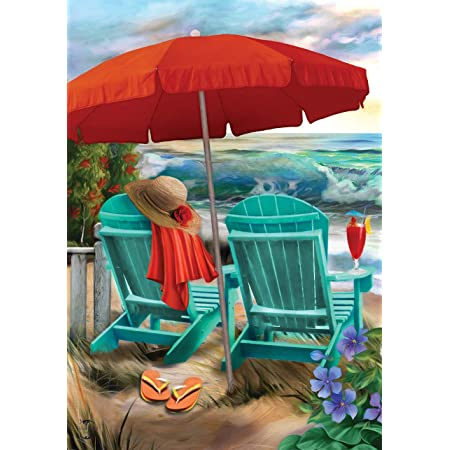 Amazon Com Briarwood Lane Beach Life Summer House Flag Nautical Adirondack Chairs 28 X 40 Garden Outdoor