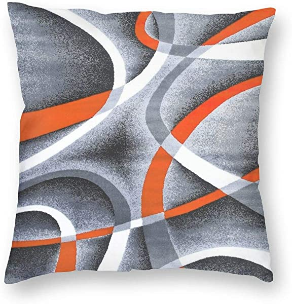 Pillow Cases Gray Black Orange White Swirls Soft Pillow Cover Home Decorative With Hidden Zipper Without Pillow Core 18 X18