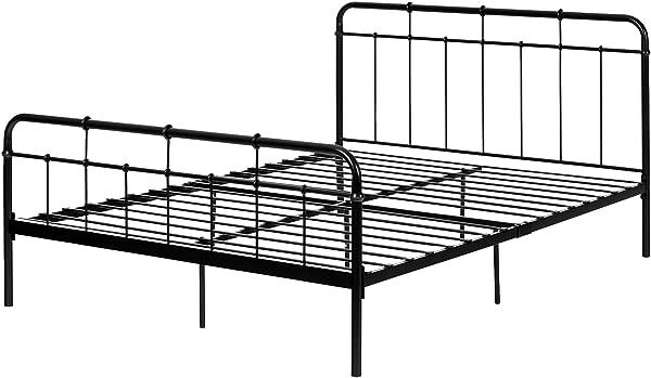South Shore 12068 Gravity Metal Platform Bed Queen Black