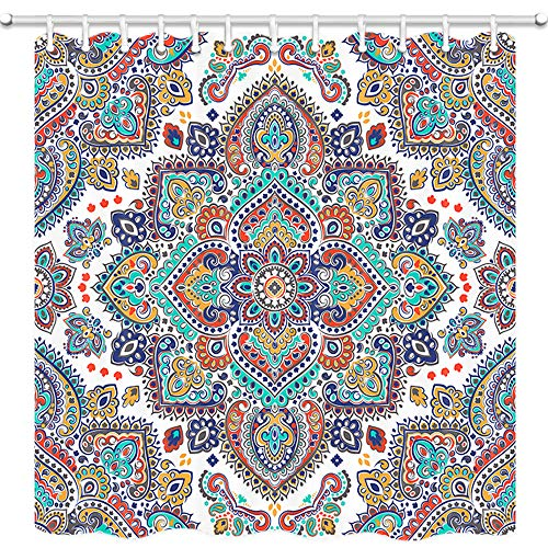 JAWO Colorful Mandala Shower Curtain, Floral Paisley Medallion Pattern Bathroom Curtain, Polyester Fabric Bath Curtains with Hooks 69W X 70L Inches