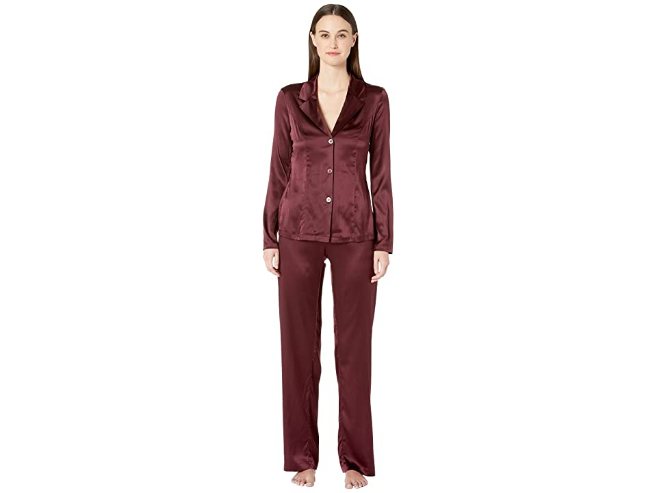 La Perla Silk Reward Long Pajamas (Bordeaux) Women