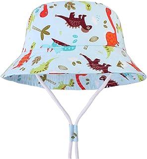 Chapeau Anti UV /à Motif Dinosaure CAMLAKEE Chapeau de Soleil B/éb/é Gar/çon Chapeau Bob de Plage en Coton