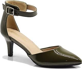 Enzo Romeo Jputa Women's Pointy Toe High Mid Heel Sexy Ankle Strap Sandals Ballerina Dress Pump Ballet Wedding Patent Harlow Pump Shoes (8, Olive pat)