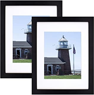 Golden State Art 11x14 Photo Wood Frame with Mat for 8x10 Picture, Wood, Black (2-Pack), 11x14