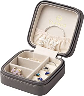 Vlando Small Faux Leather Travel Jewelry Box Organizer Display Storage Case Rings Earrings Necklace (Grey)