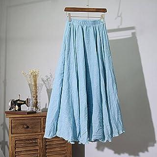 ZJMIYJ Kjolar för kvinnor – hög midja linne maxikjol sommar damer avslappnad elastisk midja två lager kjolar 20 färger kvi...