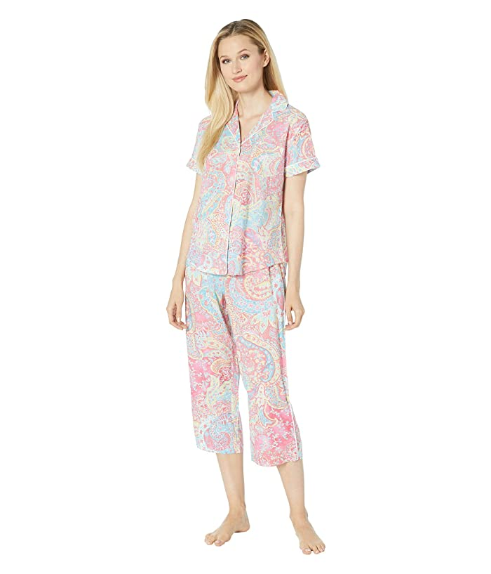 LAUREN Ralph Lauren Short Sleeve Pointed Notch Collar Capri Pants Pajama Set (Pink Paisley Print) Women