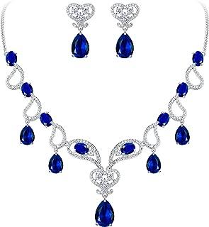 Clearine Women's Bohemian Boho Teardrop CZ Hollow Love Heart Statement Necklace Dangle Earrings Set