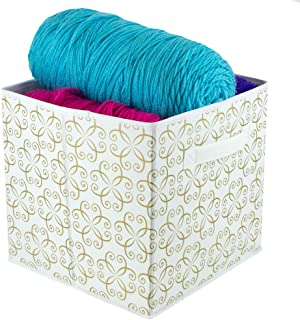 Home Basics Dra Metallic Curlz Non-Woven Storage Bin Cube Basket Box, Dual Handles & Removable Bottoms Collapsible Foldable for Home Decor Office Closet Bedroom Drawer Toy Organizer Everyday Use, Gold