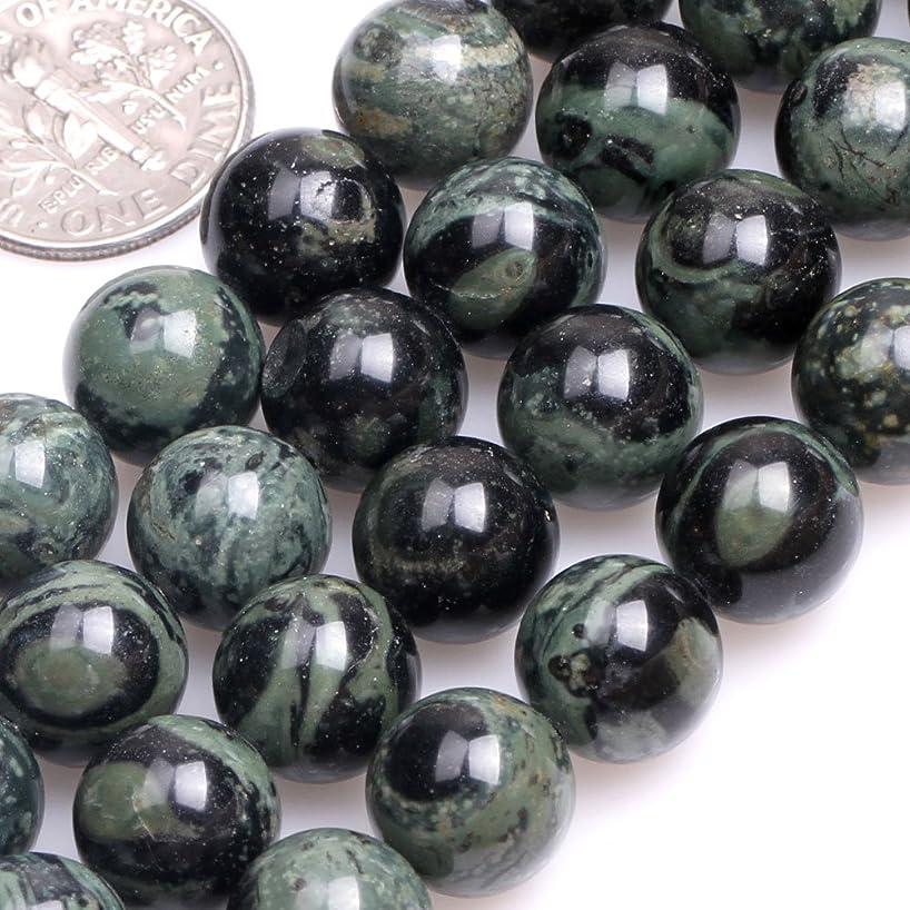 GEM-inside Natural 10mm Round Dark Blue Rhyolite Kambaba Jasper Beads for Jewelry Making Strand 15