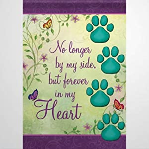 fuzes.f Garden Flag Dog Cat Loss of Beloved Pet Memory No Longer by My Side But Forever in My Heart Paw Print Yard Flag Farmhouse Decor Yard Holiday Seasonal Outdoor Decor