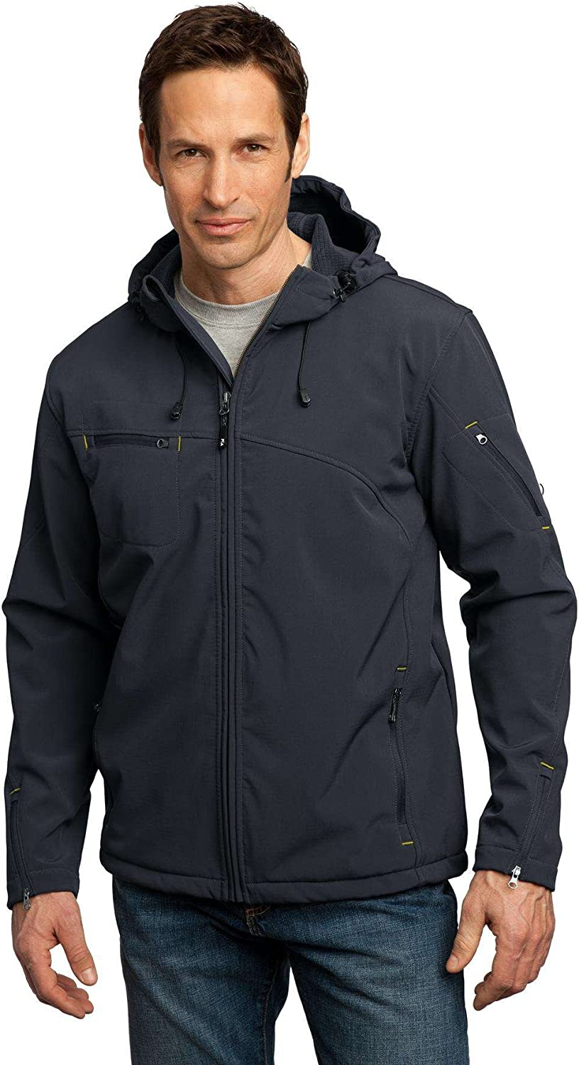 Port Authority - Textured Hooded Soft Shell Jacket. J706 - Charcoal/Lemon Yellow_M