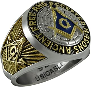 Ancient Free and Accepted Masons Masonic Sterling Silver 925 Mason 18k Gold Plated Freemason Ring KTR010