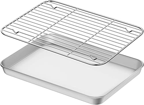 popular Baking Sheet with Rack Set, Umite Chef Stainless Steel 10 Inch Cookie Sheet Baking Pans with Cooling Rack, Cookie discount Pan with Rack Non Toxic & Healthy, Easy Clean & Heavy Duty, Dishwasher wholesale Safe sale