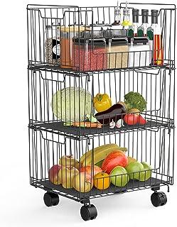 Panier à Fruits à 3 Niveaux Avec Roue, Rangement Des Fruits Et Légumes Pour La Cuisine, Les Fruits, Les Légumes, Les Artic...
