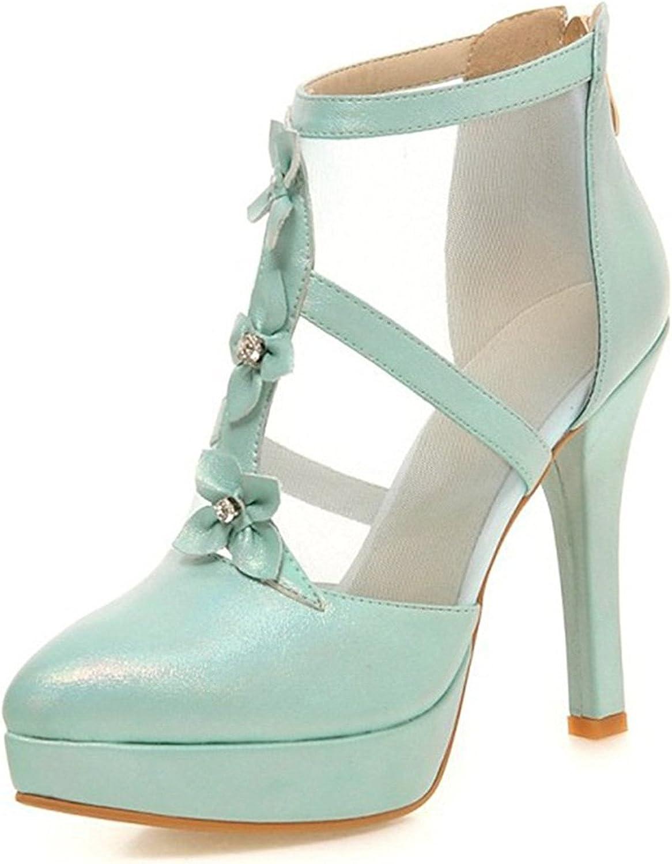 Frommk sandals Women's Elegant Flowers Gauze Splicing Back Zipper Ankle Boots Pointed Toe Stiletto High Heel Platform Pumps