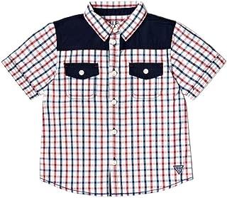 GUESS Boys' Short Sleeve Plaid Shirt