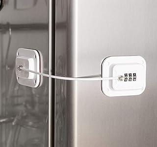 Keyless Refrigerator Lock - Heavy Duty Combination Fridge Lock, Easy to Install and Use (White)