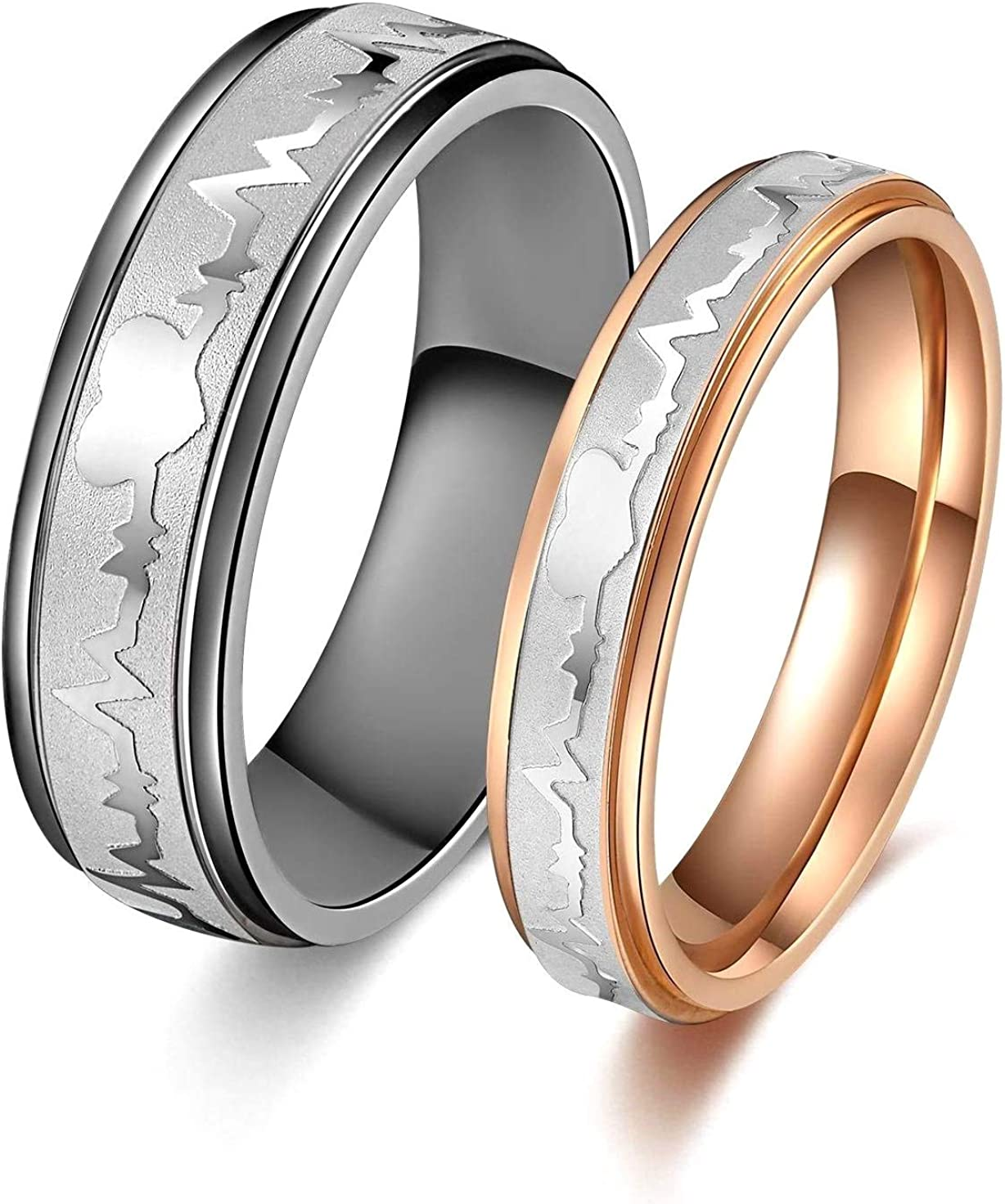 SunnyHouse Jewelry His or Hers Matching Set Heart Beat Chart Titanium Couple Wedding Band Ring