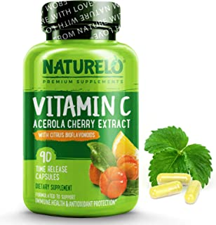 NATURELO Vitamin C with Organic Acerola Cherry Extract and Natural Citrus Bioflavonoids - Whole Food Vegan Supplement - 50...