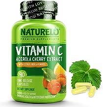 NATURELO Premium Vitamin C with Organic Acerola Cherry and Citrus Bioflavonoids - Whole Food Powder Supplement - Not Synthetic Ascorbic Acid - 500 mg - Non - GMO - Raw Vegan - 90 Capsules