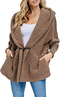 Happy Sailed Women Button Lapel Hooded Faux Fuzzy Shearling Fleece Open Front Warm Oversized Jackets Coat