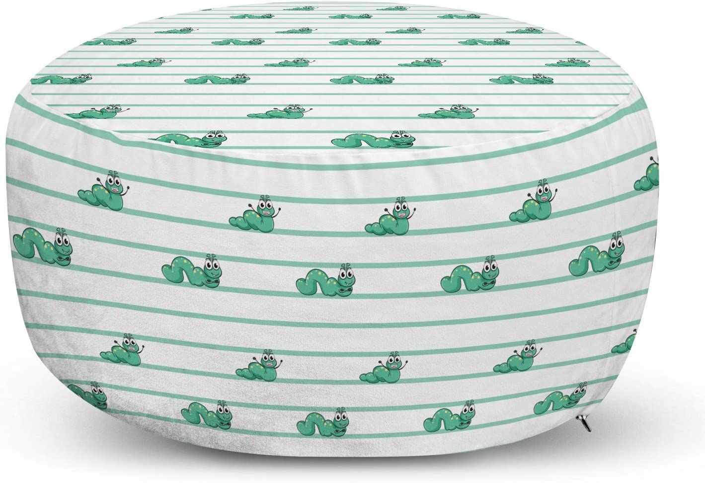 Lunarable Caterpillar Pouf Cover with D OFFicial site Limited price Worms Zipper Green