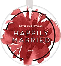 70th Christmas Happily Married Ornament 2019 Marriage 70 Years Platinum Wedding Anniversary Keepsake Gifts Celebrate Happy Couple Parents Grandparents Pretty Red Abstract Floral 3