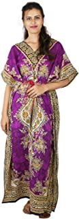 Floral Print Long Caftan Tunic Dress Maxi Kaftan Plus Size Cover up Dresses for Women