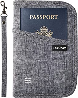 Passport Wallet RFID Blocking Travel Organizer Bag, Family Passport Holder with ID Window