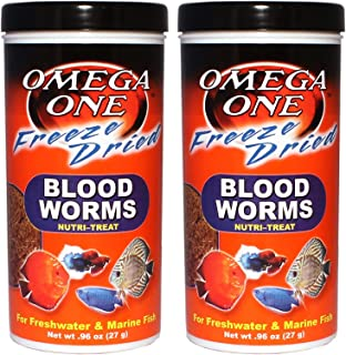 Omega One Freeze Dried Blood Worms 0.96oz 2-Pack