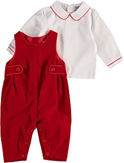 Carriage Boutique Boys Romper Red or Black Velvet 2 Pc. Long Romper with White Shirt
