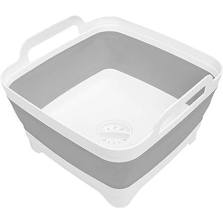 Kurtzy Balde Plegable Gris con Tapón de Desagüe Fregadero/Palangana - Capacidad 16 L - Cesto Plegable con Asas de Plástico Cubo Plegable para Acampar, ...