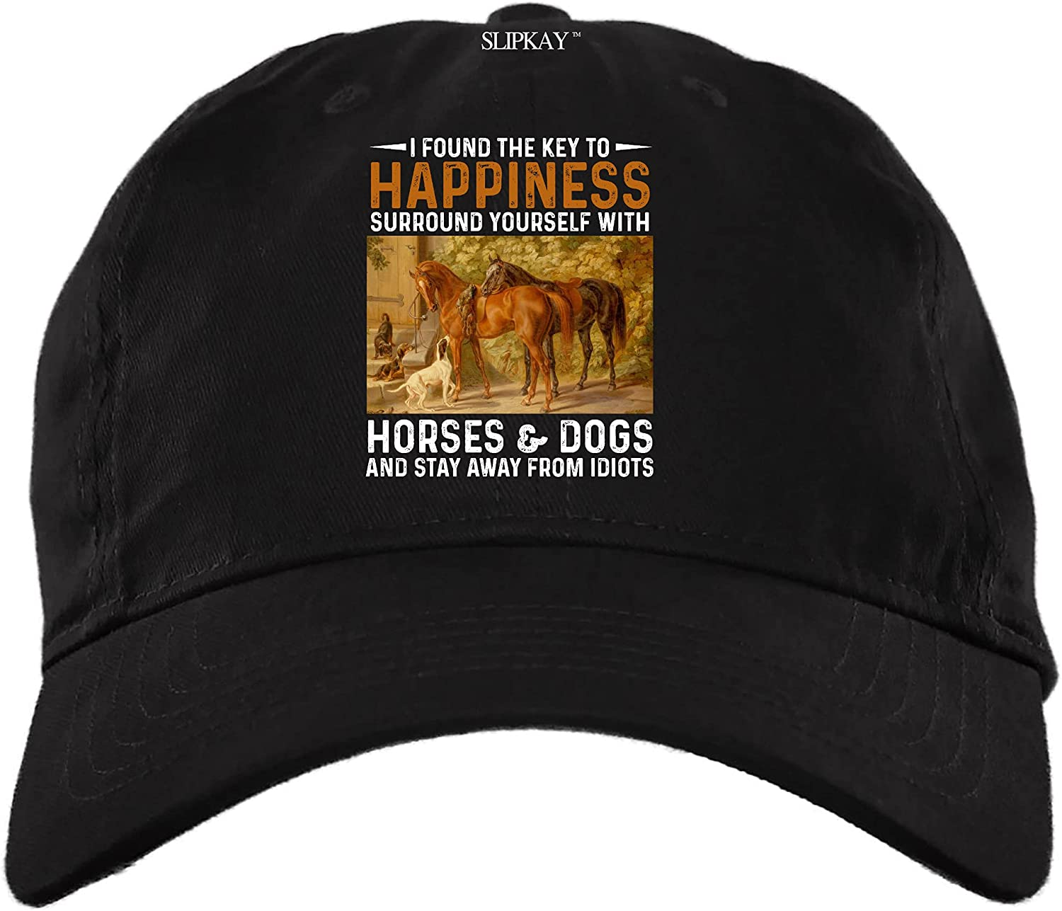 Horses and Dogs Surround Yourself with I Found The Key to Happiness Stay Away from Idiots Hat,Dad Cap