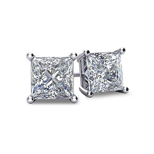 NANA Princess-Cut Stud Earrings Swarovski Zirconia Sterling Silver & 14k Solid Gold Post 1.5–4.0ct Weight