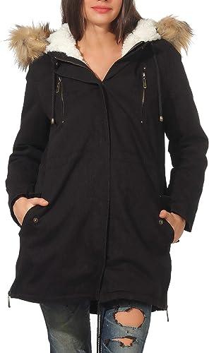 Malito Damen Parka mit Kapuze   Winterjacke mit Kunstfell   gefütterter Mantel   Jackett - Trenchcoat 81099