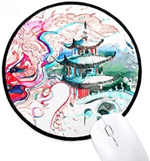 China Chinese Dragon Bridge Drawing Round Non-Slip Mousepads Black Stitched Edges Game Office Gift
