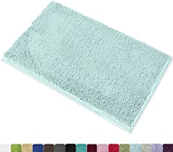 MAYSHINE 20x32 Inches Non-Slip Bathroom Rug Shag Shower Mat Machine Washable Bath Mats with Water Absorbent Soft Microfibers of Spa Blue
